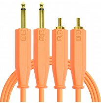 DJ Techtools Chroma Dual 6.3mm TRS - Dual RCA Cable 1.5m (Neon Orange)